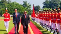Presiden RI Joko Widodo dan Presiden Republik Demokratik Timor Leste, Francisco Guterres Lú Olo di Istana Kepresidenan Bogor, Jawa Barat. (Merdeka.com/Titin Suprihatin)