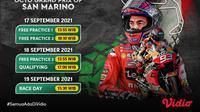 Jadwal dan Link Live Streaming MotoGP San Marino 2021 di Vidio, 17 Hingga 19 September 2021. (Sumber : dok. vidio.com)