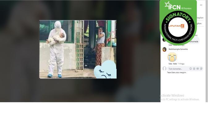 Hoaks petugas APD mengambil bayi dari ibu yang positi covid-19. (Facebook)