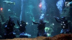 Atraksi barongan dalam air menghibur pengunjung di akuarium SeaWorld Ancol, Jakarta, Senin (4/3). Pertunjukan budaya Barongan dalam air berlangsung pada 7-10 Maret dan dilanjutkan 16-17 Maret 2019. (merdeka.com/Iqbal Nugroho)