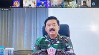 Panglima TNI Marsekal Hadi Tjanjanto ketika menjadi Keynote Speaker dalam acara Webinar Pelatihan Sinergi Anak Bangsa Dalam Menjaga Keutuhan Bangsa dan Negara Dari Aksi Separatisme di Dunia Maya, di Jakarta, Sabtu (21/11/2020).