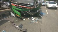 Bus Mayasari Bhakti yang sebabkan kecelakaan beruntun di Palmerah (dok. Polres Jakarta Barat)