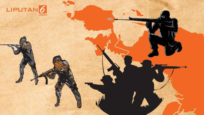 Banner Infografis Penembakan 31 Pekerja di Papua. (Liputan6.com/Triyasni)