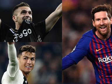Tambahan dua gol ke gawang Manchester United membuat raihan gol Lionel Messi semakin menjauhi para lawannya. Pesaing terdekatnya yang masih berlaga, Dusan Tadic saat ini meraih 6 gol, tertinggal emapt gol dari The Messiah. (Kolase Foto AFP)