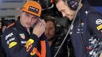 Pebalap Red Bull, Max Verstappen menempati peringkat keenam klasemen pebalap F1 dengan raihan 111 poin. (AP/Eugene Hoshiko)