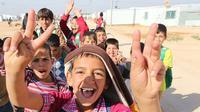 Anak-anak di Kamp Zaatari di Yordania (UNESCO).