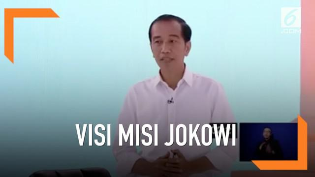 Joko Widodo menyampaikan visi misinya terkait energi, pangan, infrastruktur, SDA, dan lingkungan hidup pada Debat perdana Pilpres 2019.