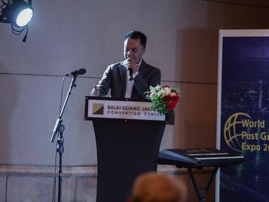 Ketum Asosiasi Dosen Indonesia Dino Patti Djalal memberikan sambutan serta membuka pameran World Post Graduate (WPG) 2018 di Jakarta, Sabtu (12/5). Pameran ini berlangsung pada tanggal 12-13 Mei 2018. (Liputan6.com/Faizal Fanani)