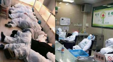 Lelah Rawat Pasien Terinfeksi Virus Corona, Foto Tim Medis Tertidur di Lantai Viral