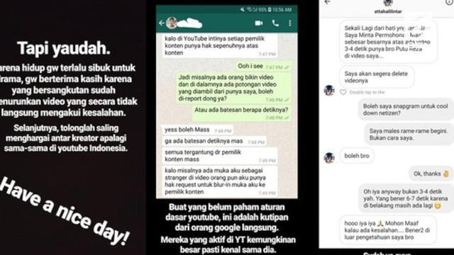 Atta Halilintar tersandung masalah karena dianggap mengambil konten video milik Putu Reza.