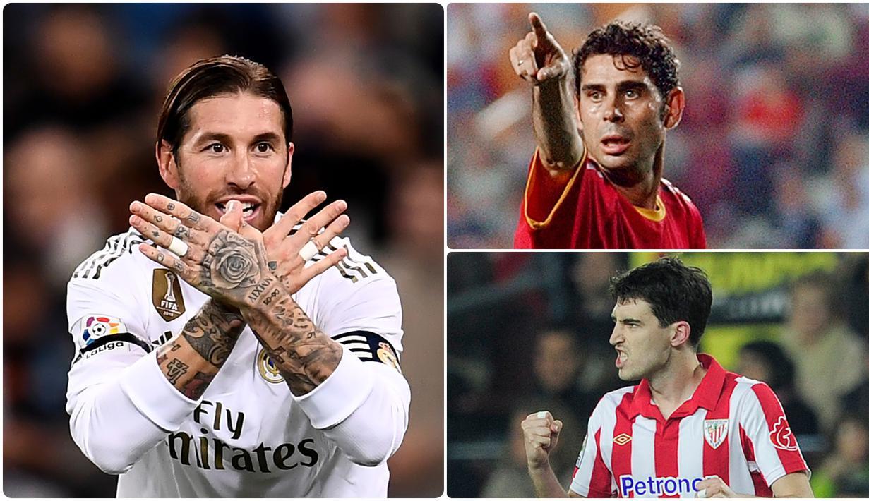 Sergio Ramos menjadi salah satu bek yang produktif dalam mencetak gol, selain Sergio Ramos tercatat ada deretan pemain bek yang juga produktif dalam mencetak gol di kompetis La Liga. Berikut Sergio Ramos dan 5 bek pencetak gol terbanyak di kompetisi La Liga. (kolase foto AFP)