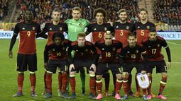 Tim Nasional Sepak Bola Belgia berapa pada peringkat teratas atau peringkat 1 rangking FIFA yang dirilis bulan Maret 2016. (AFP/John Thys)