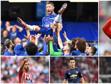 Berikut ini enam pemain yang memutuskan untuk meninggalkan klub yang telah lama dibelanya. Diantaranya adalah Gary Cahill, Diego Godin dan Arjen Robben. (Foto Kolase AP dan AFP)