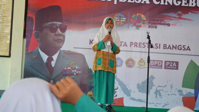 Lomba pidato berbahasa Ngapak atau Panginyongan, khas Banyumasan. (Foto: Liputan6.com/Muhamad Ridlo)