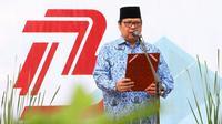 Menteri Perindustrian Airlangga Hartarto menggelar Upacara Bendera dalam rangka perayaan HUT ke-73 Republik Indonesia di Kantor Kementerian Perindustrian. Dok Kementerian Perindustrian
