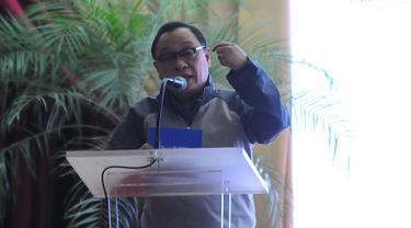 Dirut Bank BTN Maryono menyampaikan sambutan dalam diskusi perumahan bagi masyarakat berpenghasilam rendah di Jakarta, Minggu (26/5/2019). Bank BTN siap menjadi mitra utama BP Tapera untuk mengakselerasi kepemilikan hunian yang terjangkau bagi masyarakat Indonesia. (Liputan6.com/Angga Yuniar)