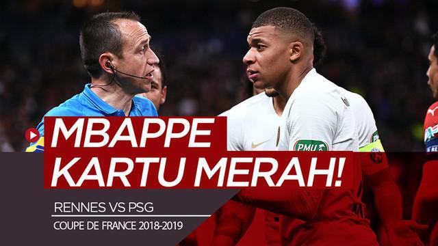 Berita video bintang muda PSG, Kylian Mbappe, diganjar kartu merah karena aksi kasarnya pada final Coupe de France 2018-2019 menghadapi Rennes, Sabtu (27/4/2019).
