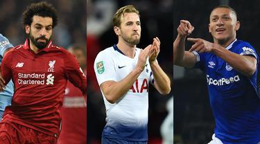 Mohamed Salah bersaing dengan Harry Kane dan Aubameyang sebagi pencetak gol terbanyak Premier League pekan ini. Sama-sama mencetak 14 gol dan Salah unggul dalan produktifitas assist. (Kolase Foto AFP)