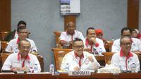 Menpora Imam Nahrawi bersama Sesmenpora Gatot S Dewa Broto dan jajaran pejabat eselon I dan II Kemenpora melakukan Rapat Kerja (Raker) bersama dengan Komisi X DPR RI.