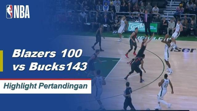 Giannis memimpin Milwaukee atas Portland dengan 33 poin, 16 rebound, dan 9 assist saat Bucks menang dalam mode yang mendominasi, 143 - 100.