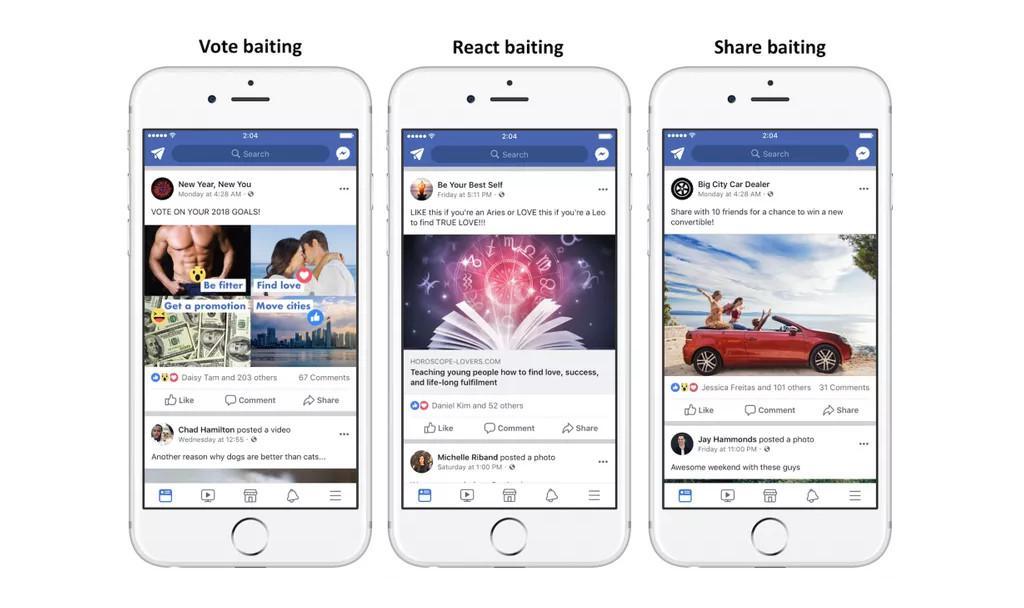 Facebook akan mem-filter dan menghapus unggahan spam yang mengemis like, share, dan komentar dari pengguna lainnya (Sumber: The Verge)
