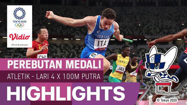 Berita video highlights final lari estafet putra 4x100 meter Olimpiade Tokyo 2020, di mana Tim Italia meraih medali emas, Jumat (6/8/2021) malam hari WIB.