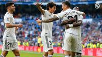 Para pemain Real Madrid merayakan gol yang dicetak Javi Sanchez. (dok. Real Madrid)