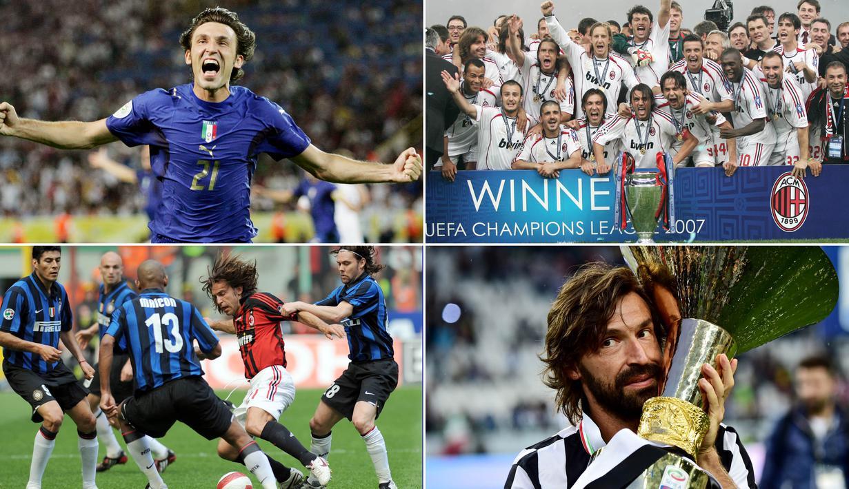 Berikut perjalanan karier dan prestasi yang pernah diraih gelandang terbaik asal Italia, Andrea Pirlo. Mulai dari Trofi Serie A, Liga Champions hingga Piala Dunia. (Foto-foto Kolase AFP)