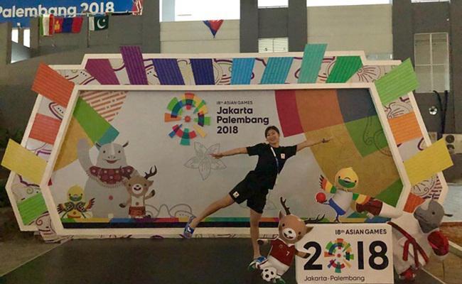 Rikako yang berfoto di depan papan Asian Games 2018/instagram.com/ikee.rikako