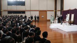 Suasana upacara turun takhta Kaisar Akihito di Istana Kekaisaran, Tokyo, Jepang, Jumat (30/4/2019). Ritual turun takhta ini dihadiri oleh keluarga kerajaan dan pejabat pemerintahan. (Japan Pool/Pool via REUTERS)