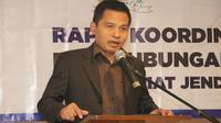 Ma'ruf Cahyono saat memberikan sambutan dalam acara Rapat Koordinasi (Rakor) awal tahun 2019 Biro Humas Setjen MPR RI, di Bogor, Jawa Barat, Jumat (11/01/2019).