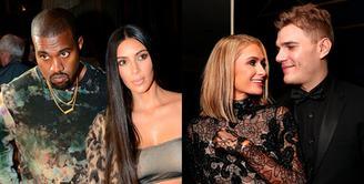 Kim Kardashian dan Kanye West terlihat makan malam di West Hollywood pada 12 Januari kemarin. Ia ditanya keinginannya untuk datang ke pernikahan Paris Hilton. (Rex-Shutterstock/HollywoodLife)