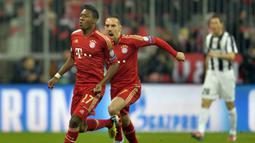 7. David Alaba. Bek Bayern Munich asal Austria ini mencetak gol saat laga memasuki detik ke 24,18 dalam partai leg pertama babak perempatfinal Liga Champions 2012/13 melawan Juventus di Allianz Arena (2/4/2013). Hasil akhir, Bayern Munich menang 2-0 atas Juventus. (AFP/Odd Andersen)