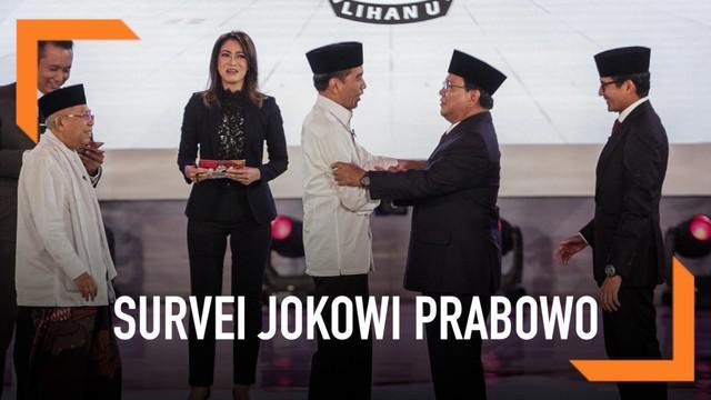 Empat lembaga rilis hasil survei  terkait elektabilitas pasangan Jokowi-Ma'ruf Amin dan Prabowo Subianto-Sandiaga Uno.