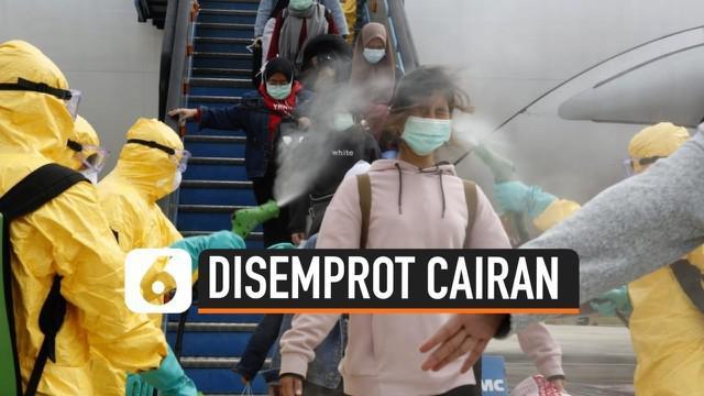 Setiba di Bandara Hang Nadim, Batam hari Minggu (2/2) ratusan WNI dari China sempat disemprot dengan cairan khusus. Cairan tersebut digunakan dalam proses sterilisasi para penumpang pesawat.