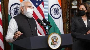 Wakil Presiden Kamala Harris bertemu dengan Perdana Menteri India Narendra Modi, Kamis, 23 September 2021. (Foto: AP)