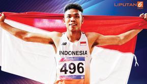 Banner Infografis Lalu Muhammad Zohri, Manusia Tercepat ASEAN. (Sumber Foto: AP/Vincent Thian)