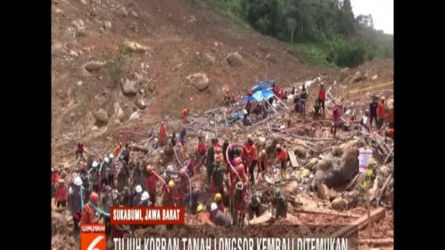 Tim satgas kembali temukan 7 korban longsor di Cimapag, Sukabumi.