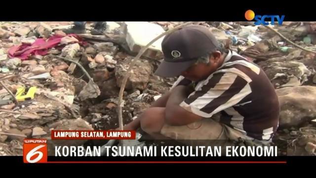 Demi menghidupi keluarganya, warga korban tsunami di Lampung Selatan yang awalnya berprofesi sebagai nelayan, terpaksa berburu besi bekas di timbunan lokasi tsunami.