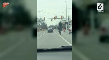 Seorang polisi berkuda mampu menghentikan mobil  yang melanggar lalu linta akibat ngebut.