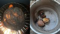 6 Momen Apes Masak Telur Sampai Gosong Ini Bikin Enggak Napsu Makan (sumber: Twitter/wherearetheavd/titidgeto)