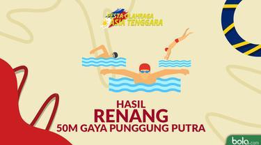 Berita video catatan Siman Sudartawa saat meraih emas dari cabang olahraga renang 50m gaya punggung putra.