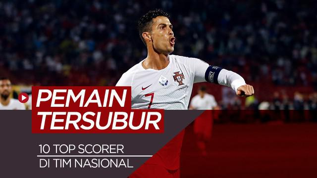 Berita motion grafis 10 pemain tersubur di tim nasional, Ronaldo di posisi 2, Messi tidak masuk dalam daftar.