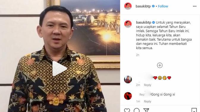 Basuki Tjahaja Purnama atau Ahok mengucapkan selamat Imlek melalui akun instagram.