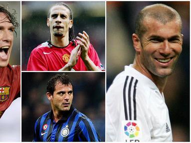 Berikut ini para pemain legendaris bernomor punggung lima terbaik sepanjang masa. Ada Rio Ferdinand, Zinedine Zidane dan Carles Puyol. (Foto Kolase AP dan AFP)