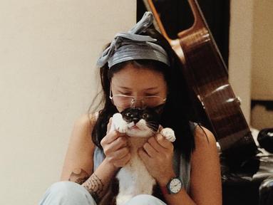 Kucing Danilla ini merupakan kucing betina dan selalu ada Ruang Waktu Studio, tempat Danilla merekam lagunya. (Liputan6.com/IG/@meiyranti)