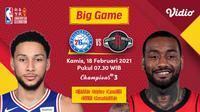Duel Sixers vs Rockets, Kamis (18/2/2021) pukul 07.30 WIB dapat disaksikan melalui platform Vidio. (Dok. Vidio)