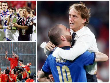 Keberhasilan sebuah tim menjuarai kompetisi atau turnamen tak lepas dari sosok seorang pelatih jenius yang pandai meramu formasi dan taktik. Berikut ini lima pelatih terakhir yang sukses menjuarai Piala Eropa. Teranyar Roberto Mancini dengan Timnas Italianya.