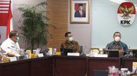 Menteri Sosial Juliari P. Batubara bertemu pimpinan Komisi Pemberantasan Korupsi (KPK) di Jakarta, Rabu (9/9/2020).