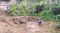 Lahan Sawah Milik Warga di Desa Harkat Jaya, Kecamatan Sukajaya, Kabupaten Bogor Hancur Tertimbun Longsor pada 1 Januari 2020. (Foto: Achmad Sudarno/Liputan6.com)